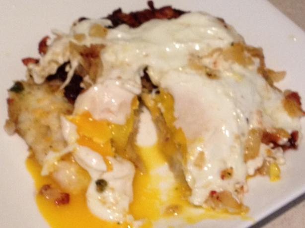 Cheddar Stuffed Potato Cake and Egg #5FIX