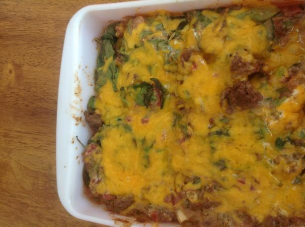 Low Carb Mexican Beef and Spinach Casserole