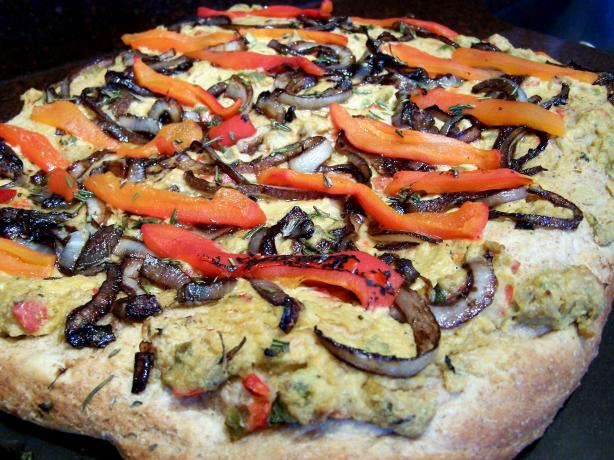 Hummus Pizza With Caramelized Onions and Roasted Red Peppers