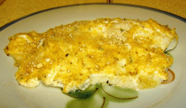 Baked Tilapia With Sour Cream Parmesan Crust