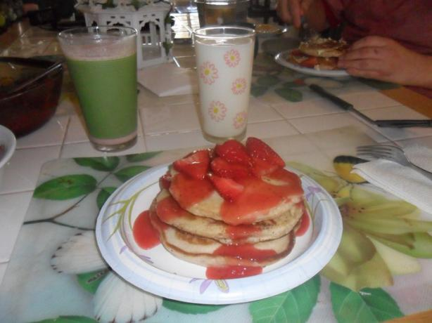 Strawberry Pancakes With Strawberry Syrup