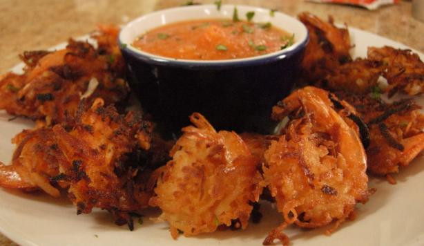 Coconut Shrimp With Pineapple-Sweet Pepper Purée