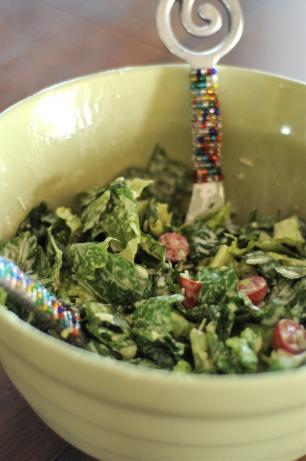 Romaine Salad with Creamy Garlic Dressing