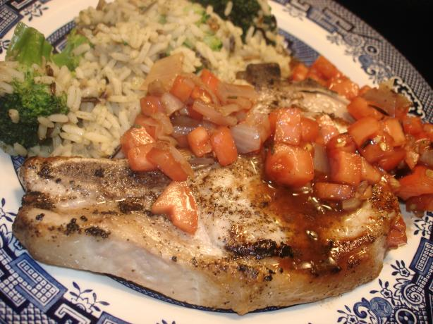 Pork Chops With Roasted Shallot, Tomato, and Rosemary Relish