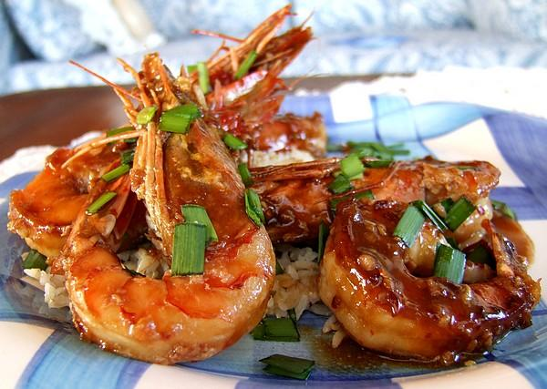 Ginger-Honey Glazed Shrimps