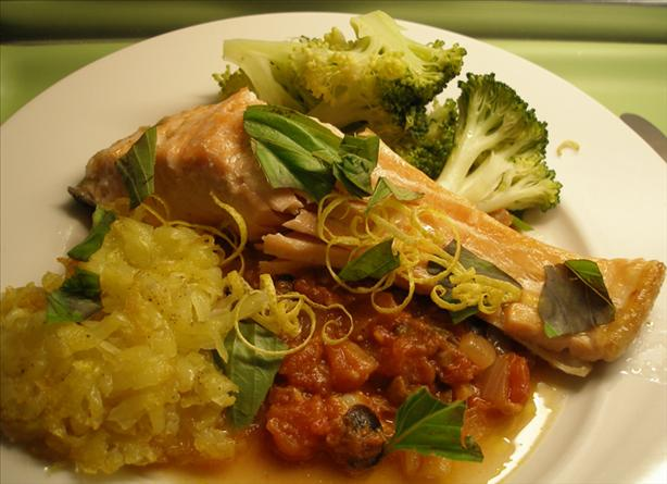 Grilled Salmon With Sicilian Tomato Sauce