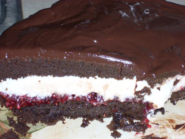 Fudgy Chocolate Layer Cake With Raspberry Chambord Whipped Cream