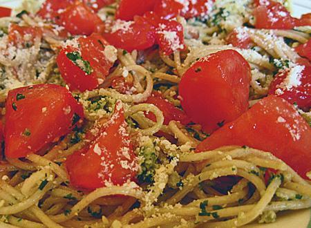 Walnut-Basil Pesto Pasta(Flat Belly Diet Recipe)