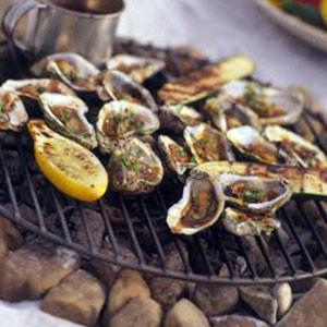 Grilled Oysters With Bacon, Dijon & Green Onion Butter