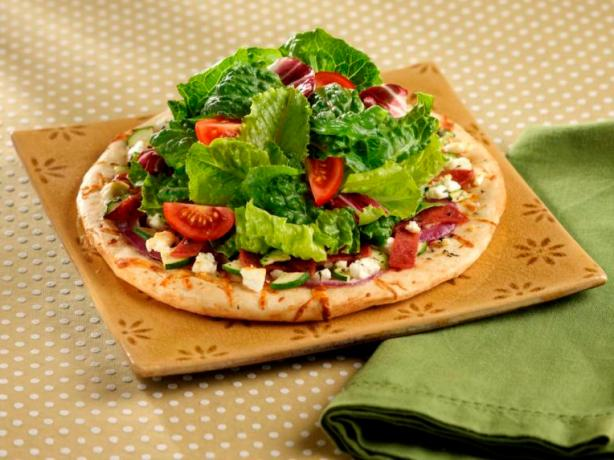 Light Salami and Feta Mini Pizzas With Tossed Greens