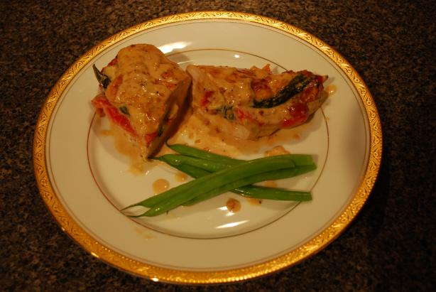 Red Bell Pepper Stuffed Chicken With White Cream Sauce