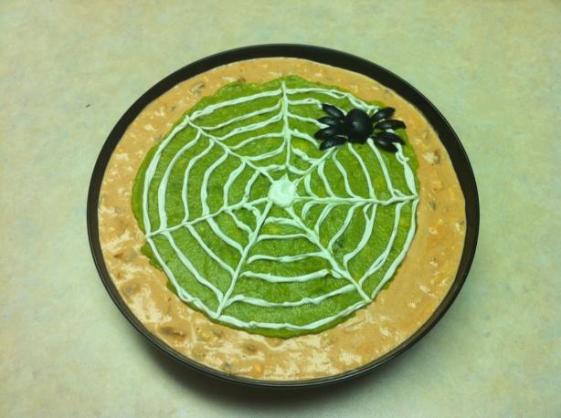 Spider Web Dip with Spooky Tortilla Chips (optional)