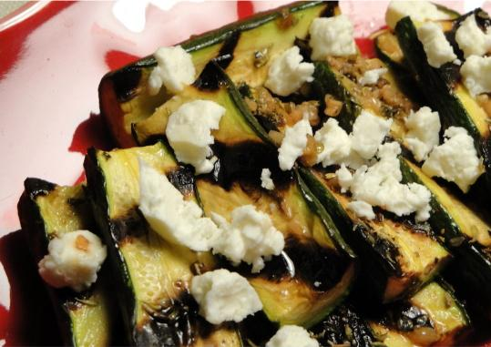 Zucchini With Red Wine Dressing & Goat's Cheese