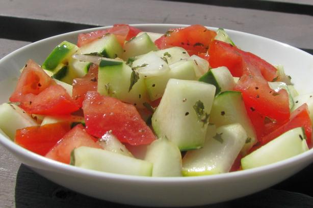 Feggous and Tomato Salad (Moroccan Chopped Cucumber and Tomato S