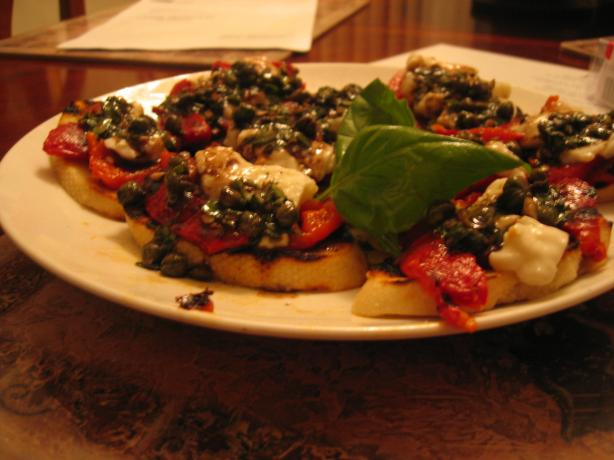 Grilled Peppers With Mozzarella & Caper-Basil Vinaigrette