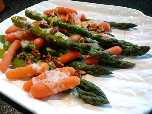 Glazed Asparagus & Carrots With Pecans
