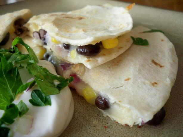 Corn, Black Bean and Red Onion Quesadillas