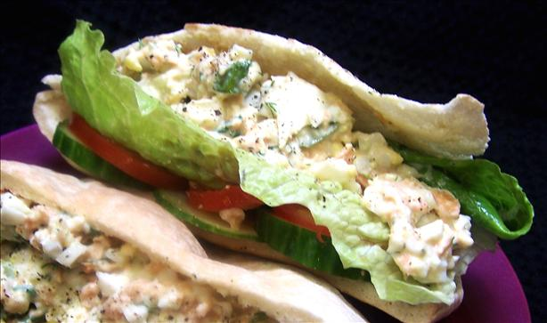 Salmon-Egg Salad Stuffed Pitas