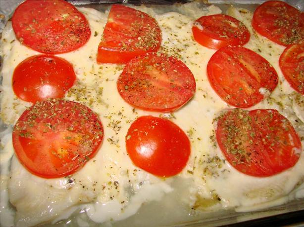 Really Easy Baked Sole Fish With Mozzarella and Tomato