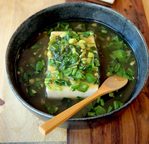Hot Tofu in Spinach Soup