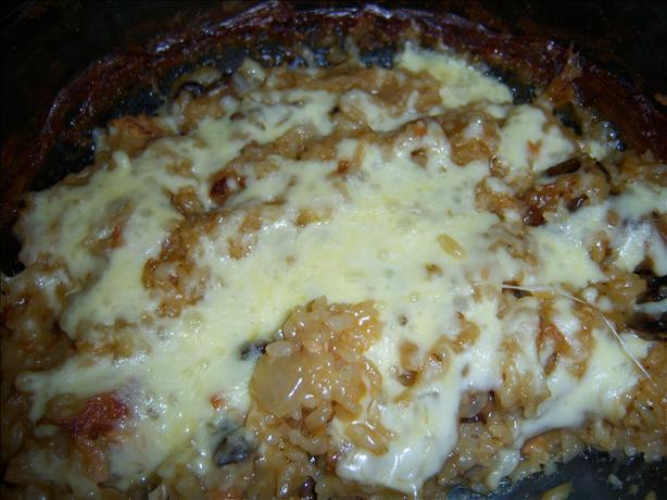 Quick and Easy One-Bowl Cheesy Onion Rice Bake
