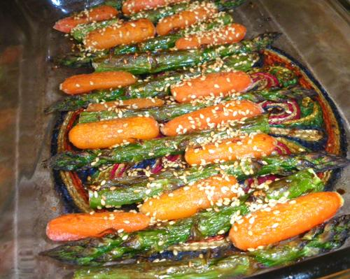 Roasted Carrots & Asparagus With Sesame & Ginger