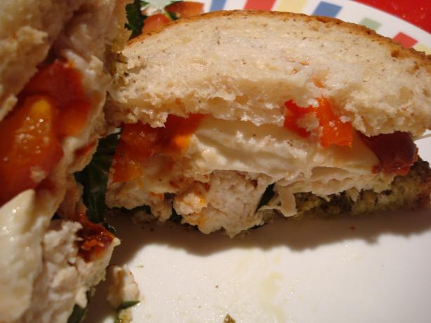 Chicken Breast With Roasted Red Peppers, Mozzarella and Pesto