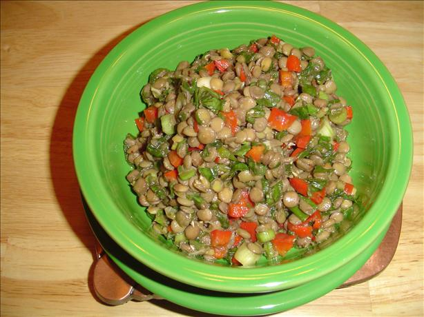 Warm Lentil Salad With Onion, Peppers, and Spinach