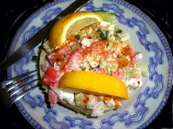 Light and Healthy Cottage Cheese and Vegetable Salad or Sandwich