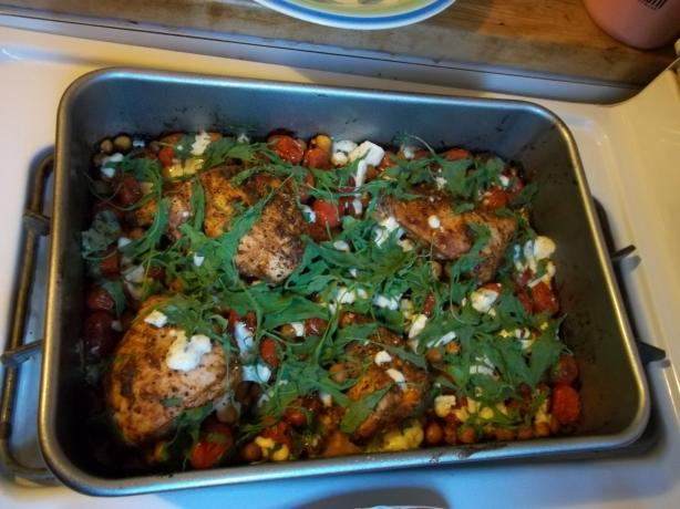 Roast Chicken Breasts With Chickpeas, Tomatoes & Blue Cheese