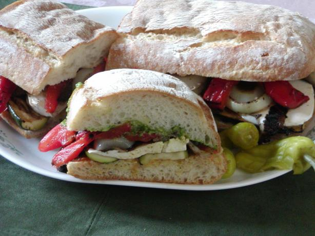 Grilled Veggies on Toasted Ciabatta Bread