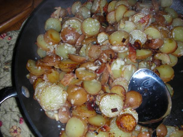 Pan Fried Potatoes With Bacon and Parmesan