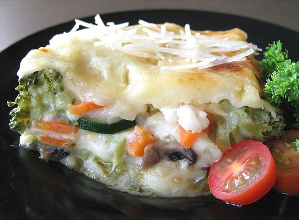 Vegetable Lasagna W/ Fontina Cheese & Creamy Parmesan Sauce