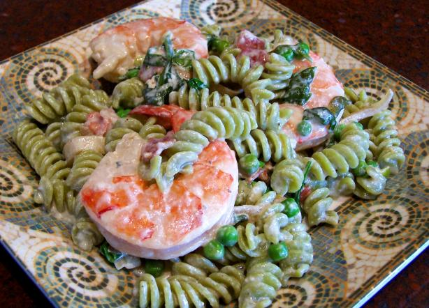 Spinach Penne, Peas and Shrimp in a Cream Sauce
