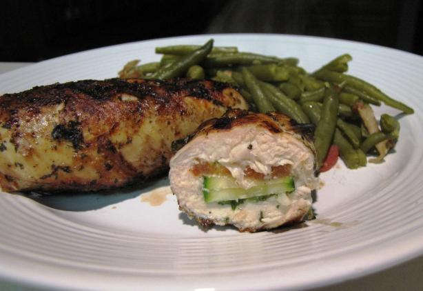 Chicken Breasts Stuffed with Zucchini, Tomato and Basil