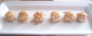 Curried Chicken Rolled in Toasted Coconut