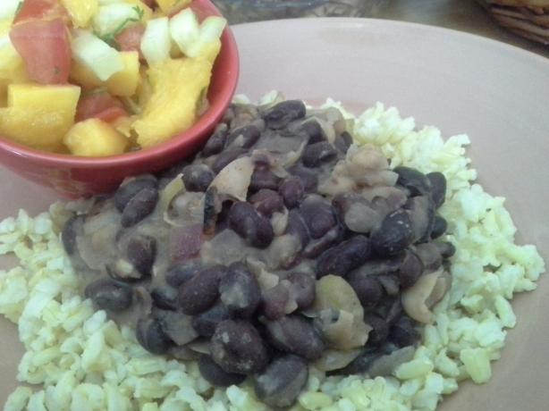 Caribbean Black Beans With Mango Salsa over Brown Rice
