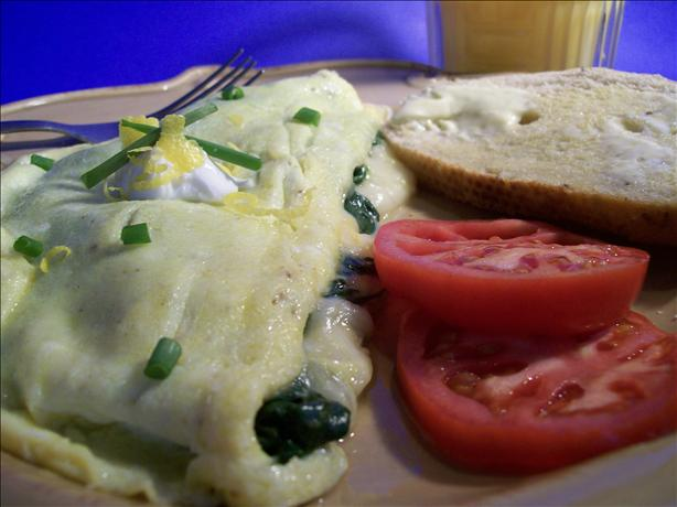 French Omelet With Spinach & Swiss Cheese