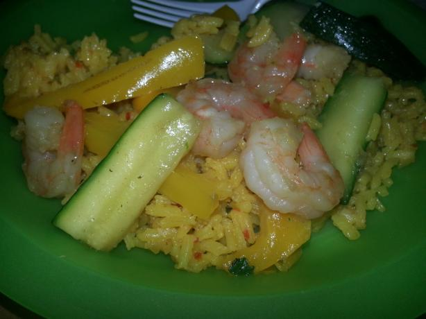 Shrimp and Peppers W/Yellow Rice