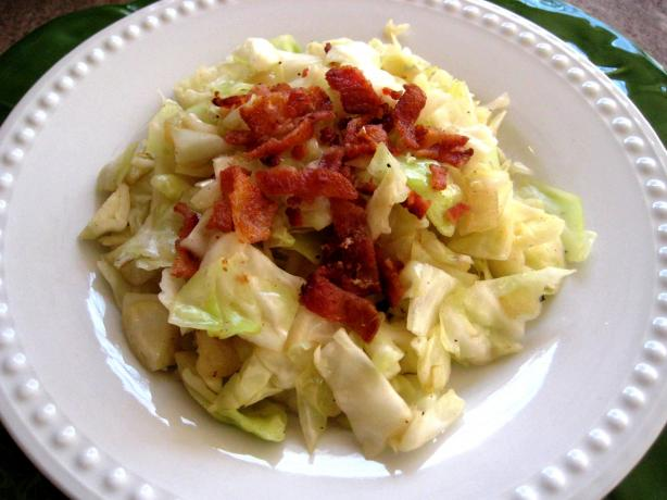 Fried Cabbage and Bacon With Onion