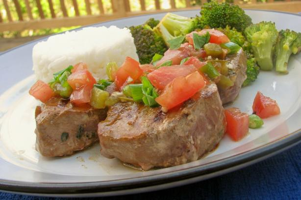 Grilled Tuna Steaks With Tomato and Herb Topping