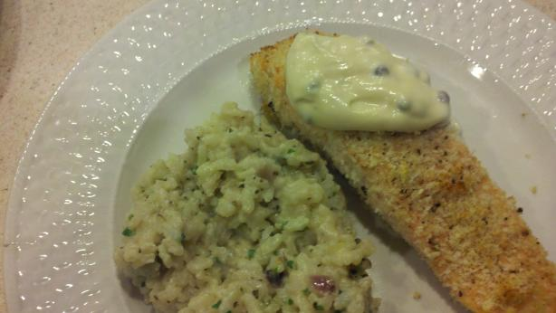 Crumb-Crusted Baked Salmon With Lemon Caper Sauce