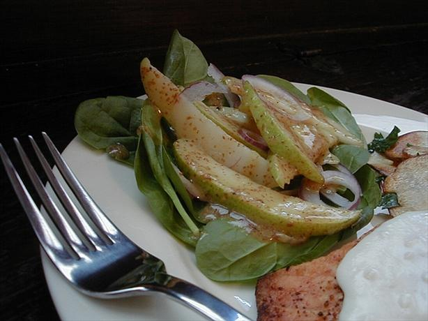 Spinach & Pear Salad With Dijon Mustard Vinaigrette