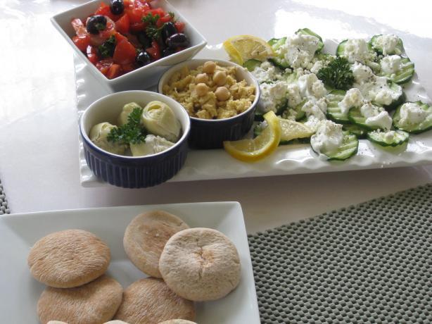 Meze Platter: Hummus, Shrimp Salad, Cucumber Salad