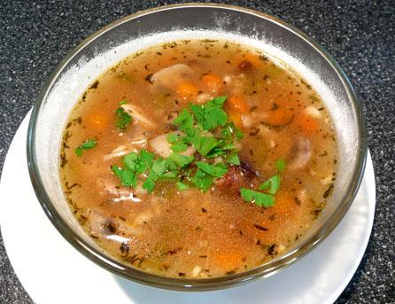 Chicken, Barley and Mushroom Soup - 4 Ww Pts.