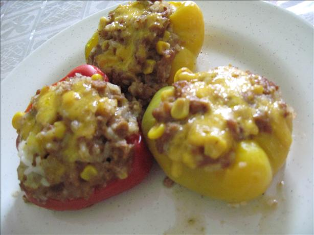 Spicy Tri-Color Vegetarian Stuffed Bell Peppers