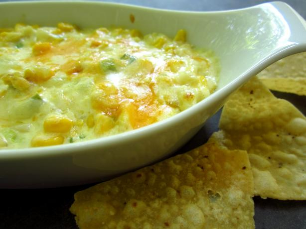Hot Corn Dip With Crispy Tortilla Chips