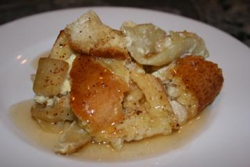 Apple Bread Pudding With Calvados Sauce