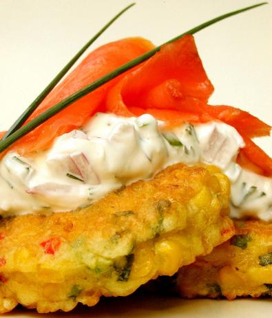 Smoked Salmon W/ Chili Corn Fritters and Sour Cream Dip