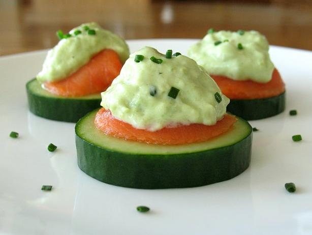 Cucumber Slices With Smoked Salmon and Avocado Cream